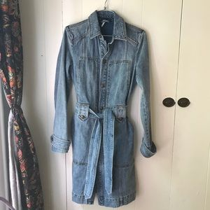 NWOT Free People belted denim trench coat XS